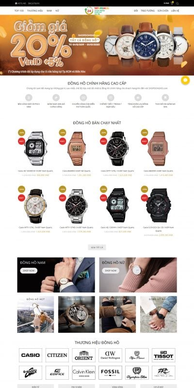 Mẫu thiết kế website bán hàng – shopdongho.com- SHOP Đồng Hồ Nam Nữ Chính Hãng