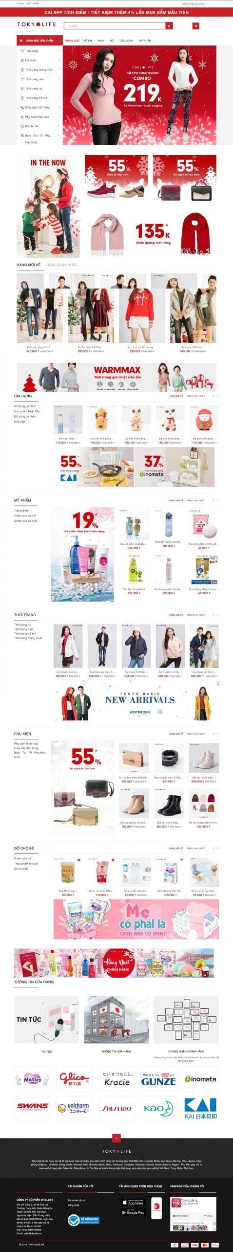 Mẫu thiết kế website TokyoLife_ Hàng tiêu dùng Nhật Bản – Thời trang thông minh – tokyolife.vn