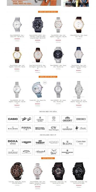 Mẫu thiết kế website bán hàng – donghohaitrieu.com đồng hồ nam, đồng hồ nữ chính hãng