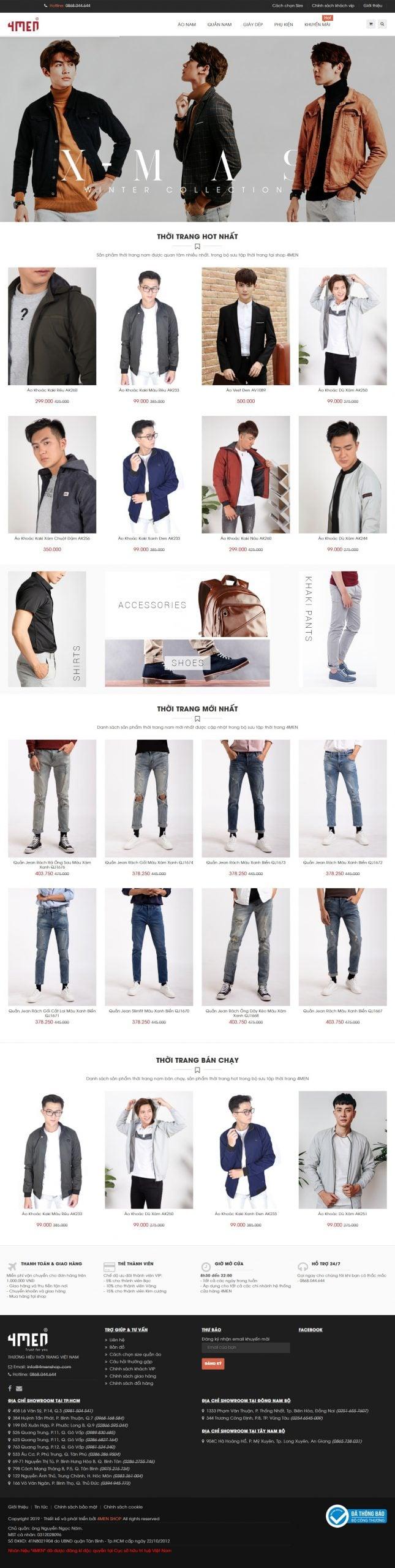 Mẫu thiết kế website bán hàng -4menshop.com 4MEN – Thương hiệu thời trang nam Hàn Quốc đẹp giá rẻ