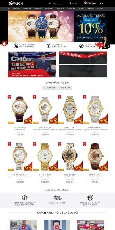 Mẫu thiết kế website bán hàng – xwatch.vn Đồng hồ chính hãng nam nữ thời trang cao cấp