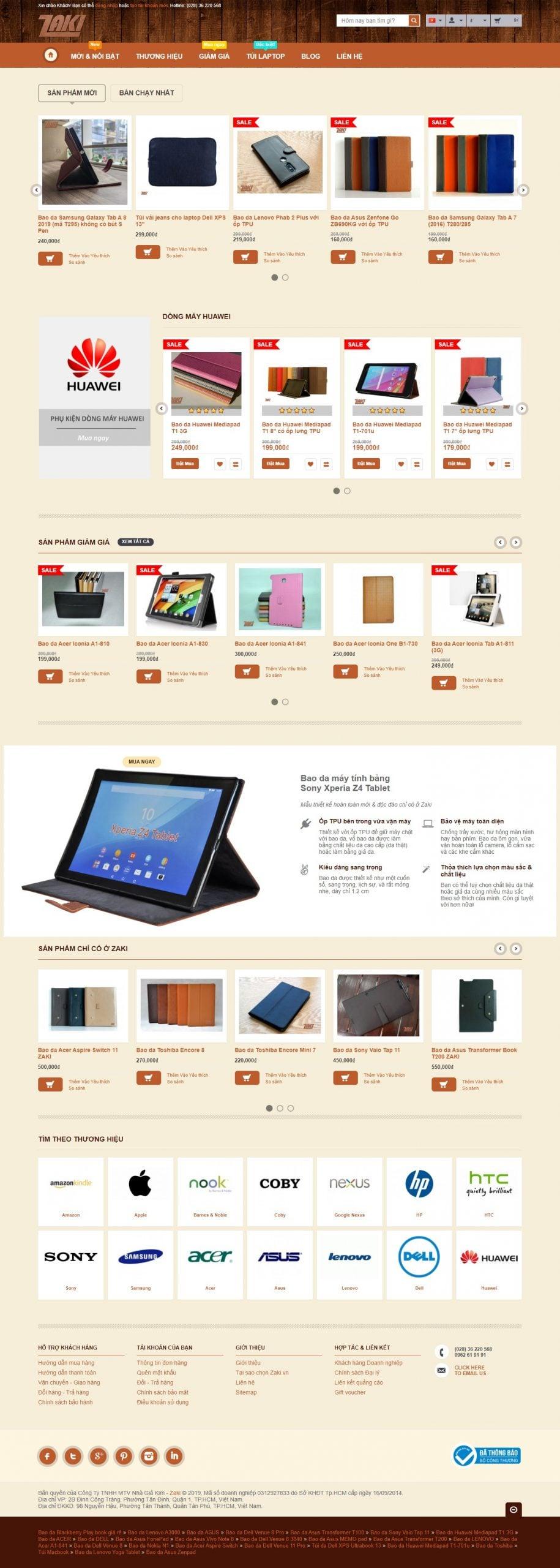 Mẫu thiết kế website bán hàng Bao da máy tính bảng, ultrabook, phụ kiện da-zaki.vn