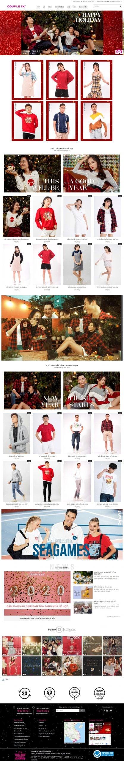 Mẫu thiết kế website bán hàng Couple TX – Thương hiệu thời trang Nam, Nữ-coupletx.com