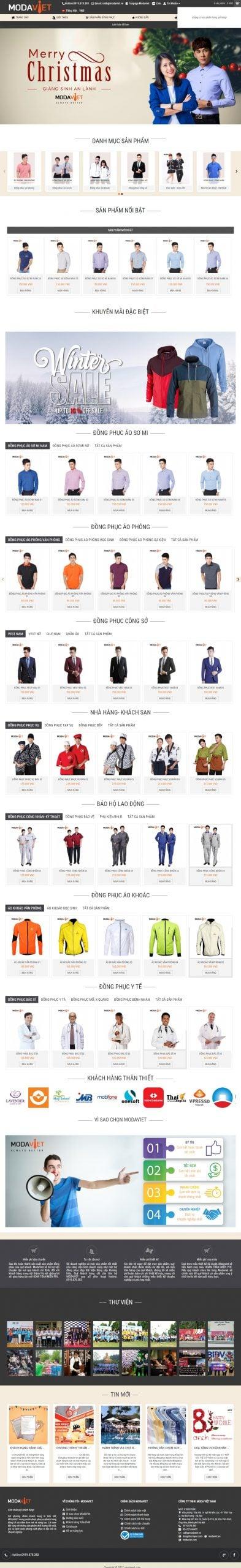 Mẫu thiết kế website bán hàng ĐỒNG PHỤC MODAVIET-modaviet.com