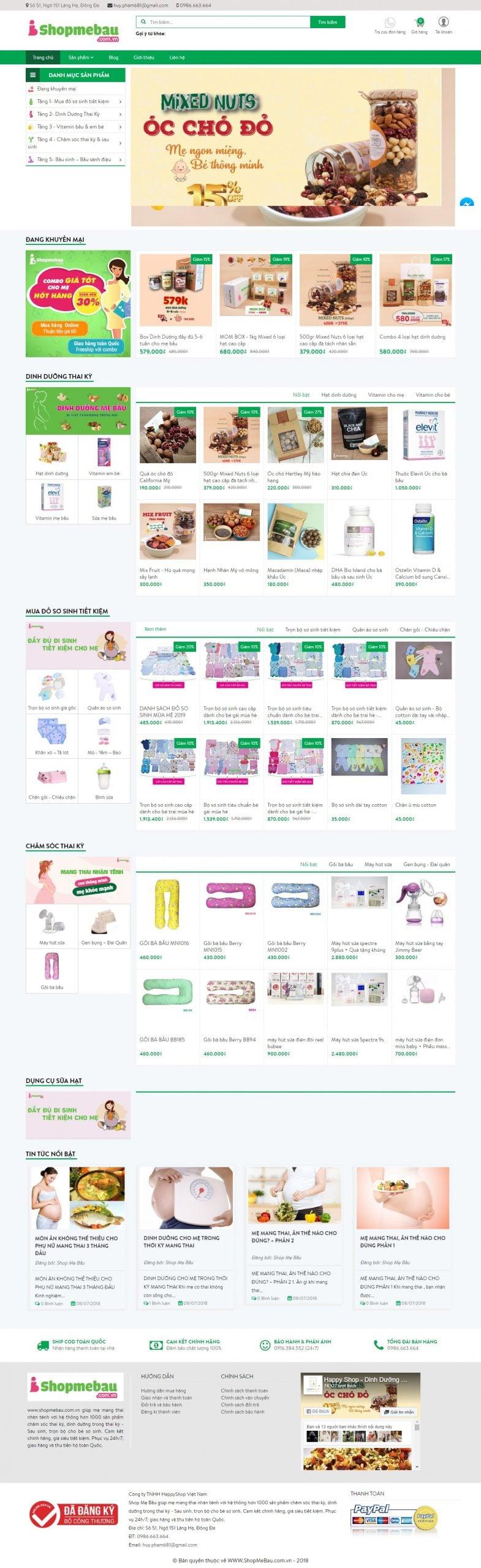 Mẫu thiết kế website bán hàng – shopmebau.com.vn Shop Mẹ Bầu – Giúp mẹ mang thai nhàn tênh