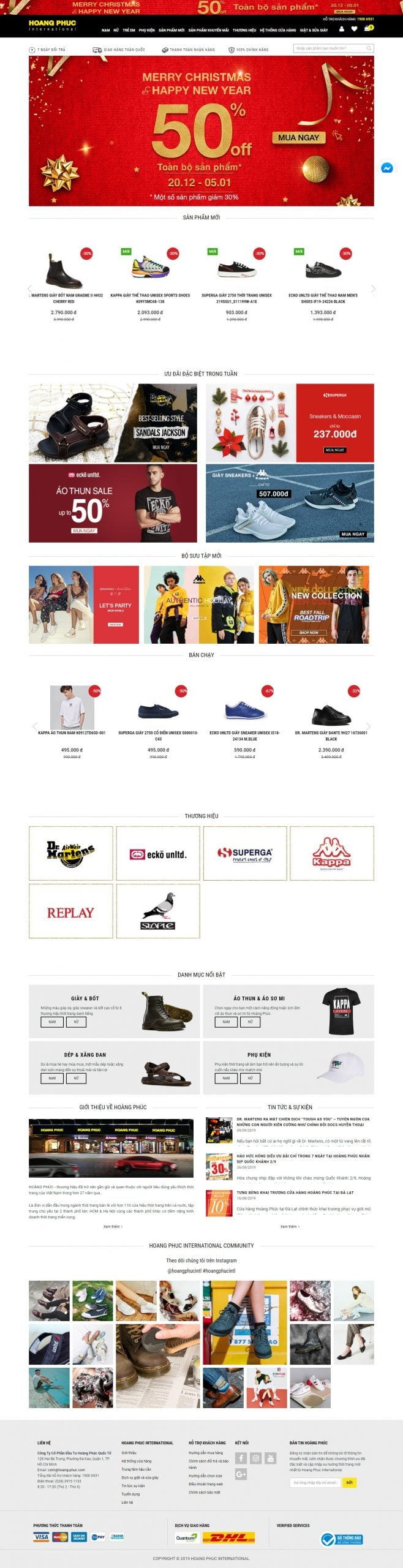 Mẫu thiết kế website bán hàng Thời Trang Hàng Hiệu Chính Hãng HOANG PHUC International-hoang-phuc.com