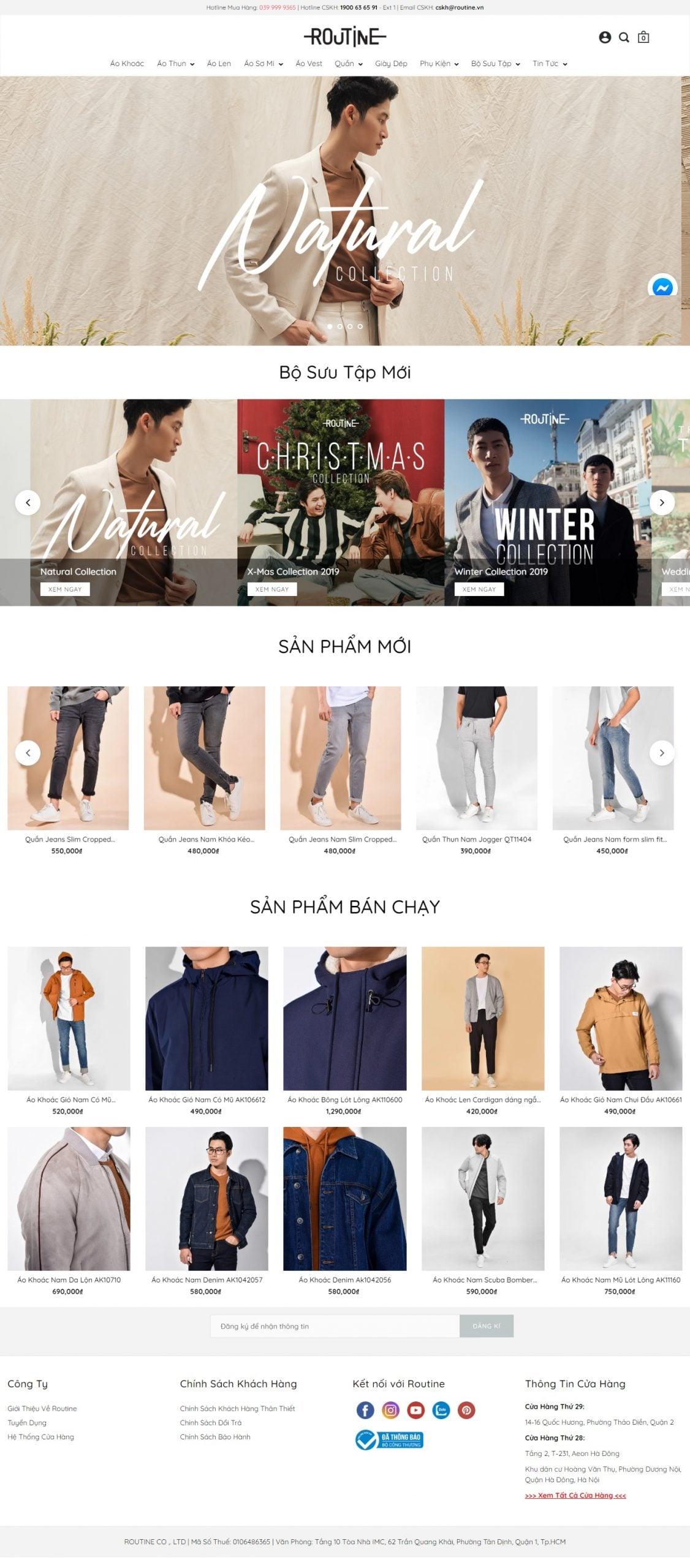Mẫu thiết kế website bán hàng Thời Trang Nam Routine-routine.vn