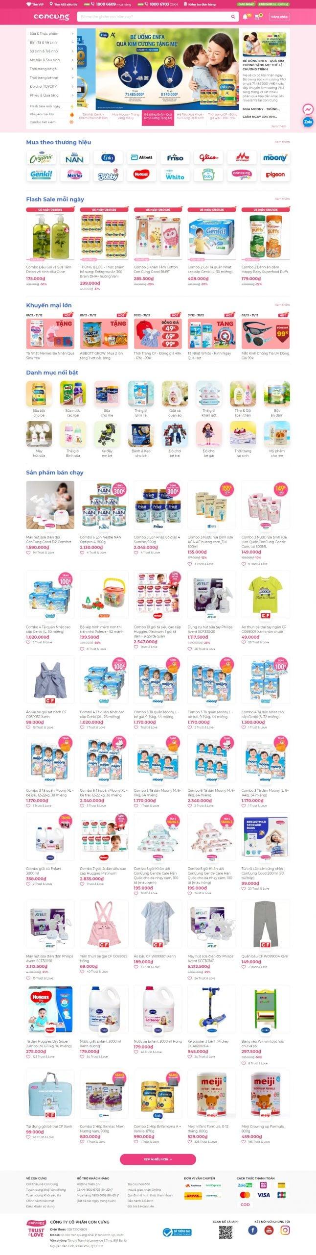 Mẫu thiết kế website bán hàng -concung.com Chuỗi hệ thống siêu thị mẹ bầu và em bé toàn quốc