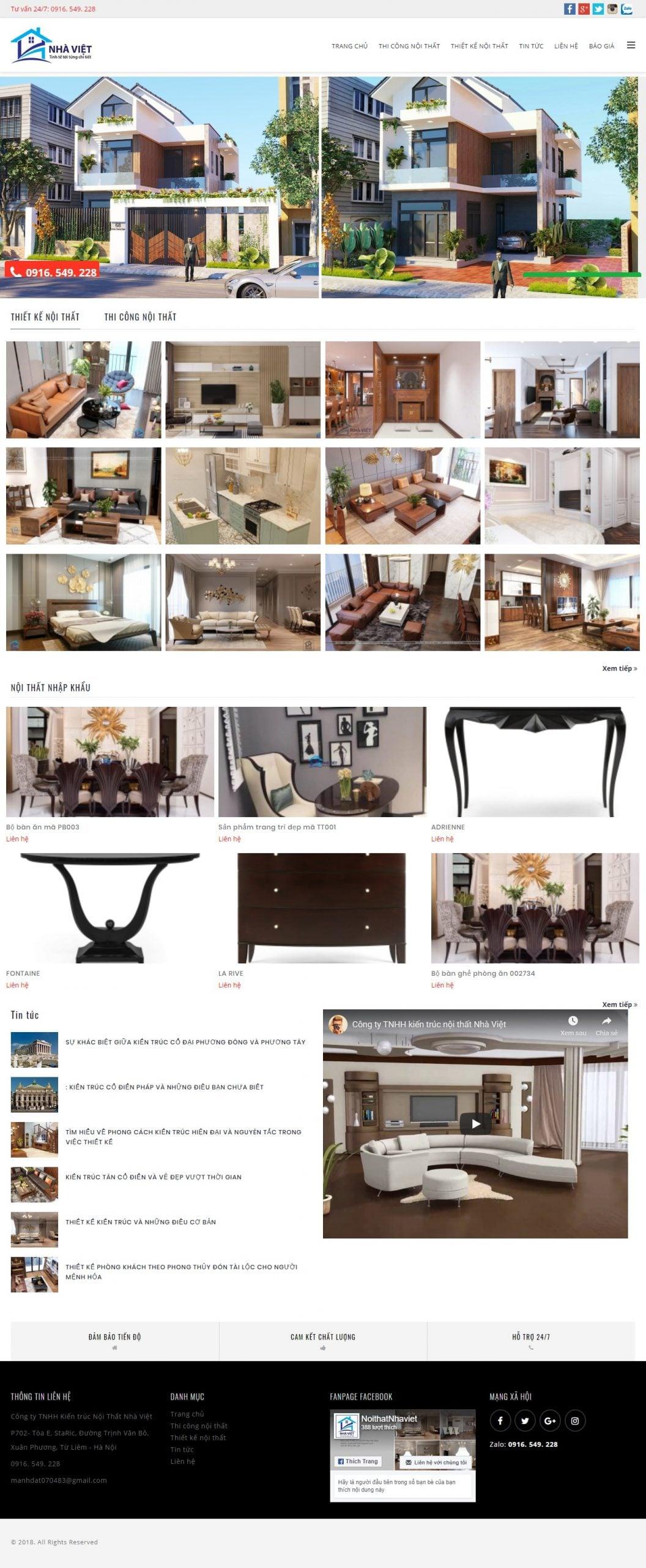 Mẫu thiết kế website bán hàng -thietkenoithatnhaviet.com Công ty TNHH kiến trúc nội thất Nhà Việt