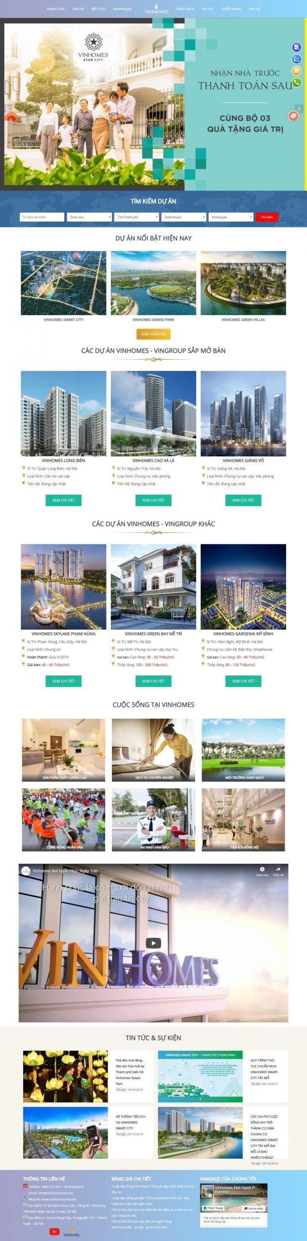 Mẫu thiết kế website bất động sản – vinhomesnew.net – Đầu tư – Tư vấn Bất Động Sản Chuyên Nghiệp