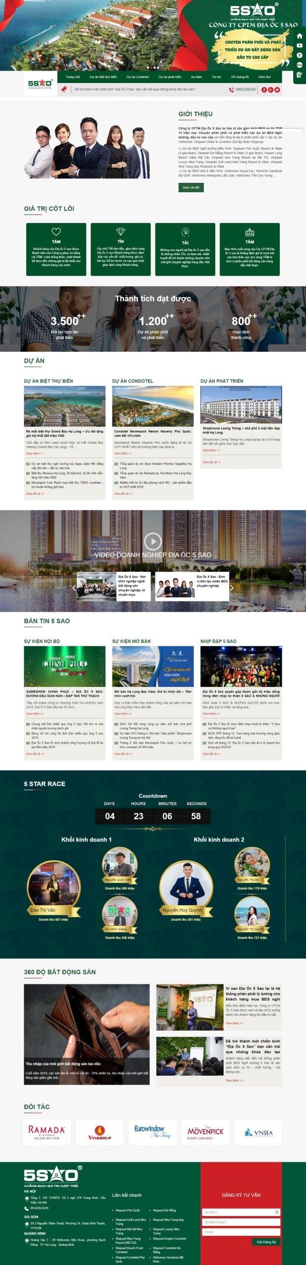 Mẫu thiết kế website bất động sản -diaoc5sao.vn – Địa ốc 5 Sao – Khẳng định giá trị vượt trội – Hệ Thống PP BĐS Nghỉ Dưỡng Cao