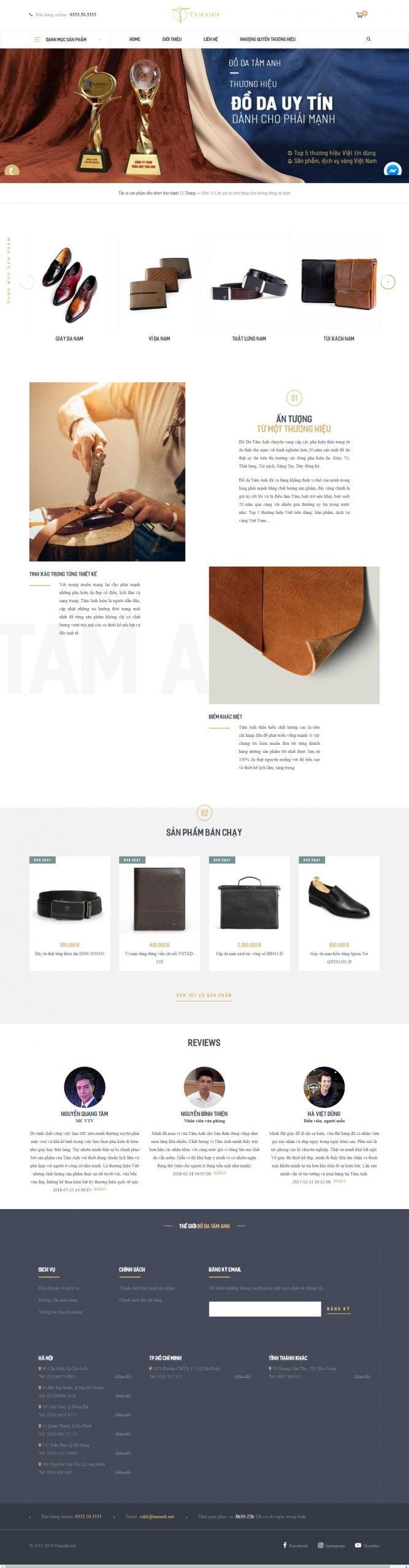 Mẫu thiết kế website bán hàng – tamanh.net Đồ da Tâm Anh – Chuyên cung cấp phụ kiện nam da thật 100% trên Toàn Quốc
