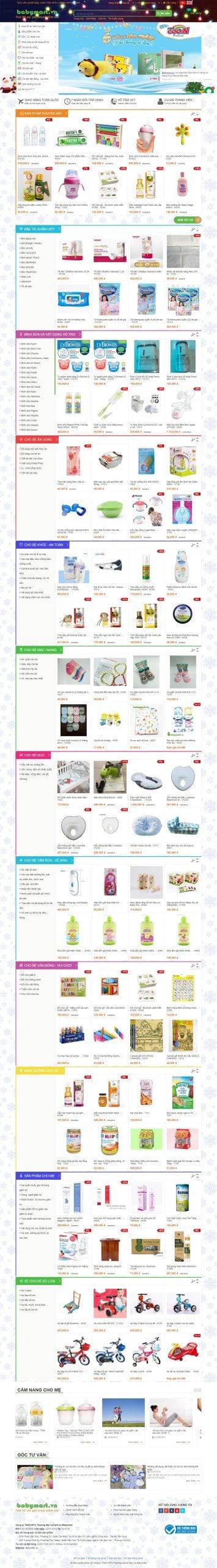 Mẫu thiết kế website bán hàng -babymart.vn Đồ dùng cho mẹ và bé – Đồ sơ sinh – Đồ chơi trẻ em – Máy hút sữa