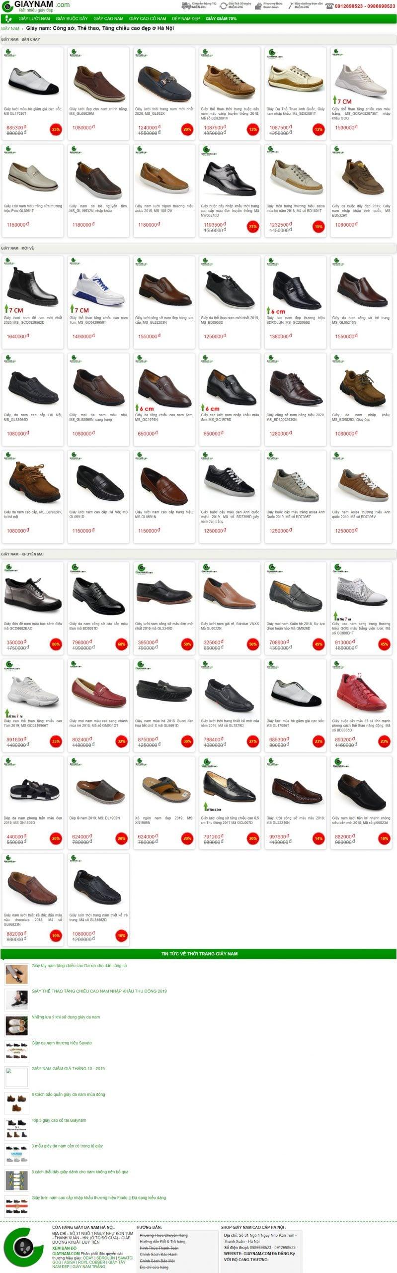 Mẫu thiết kế website bán hàng – giaynam.com Giày nam_ Công sở, Thể thao, Tăng chiều cao đẹp ở Hà Nội