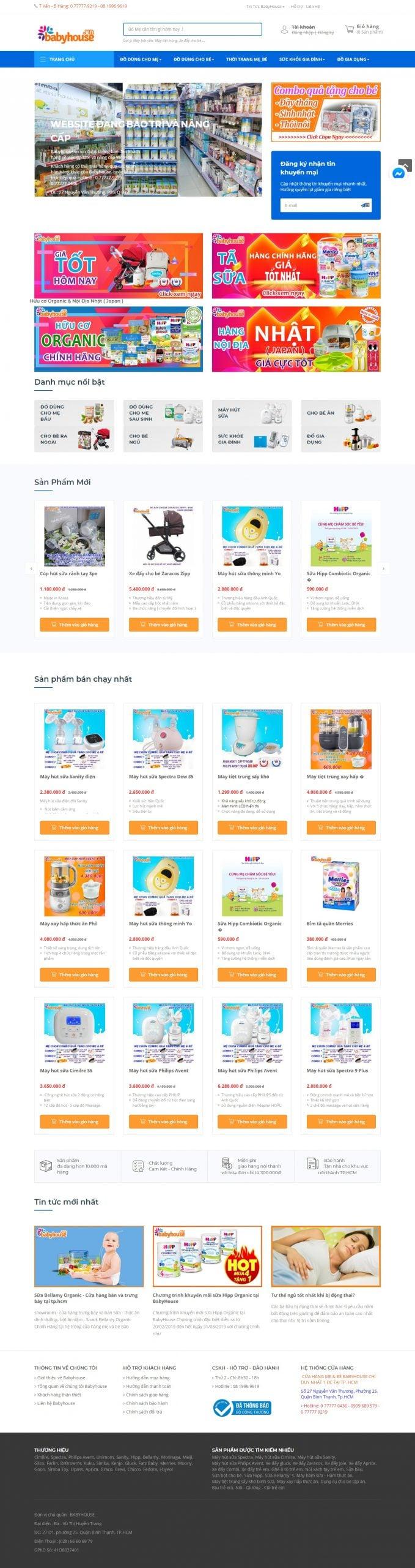 Mẫu thiết kế website bán hàng – babyhouse.vn Hệ thống cửa hàng Mẹ và Bé Babyhouse