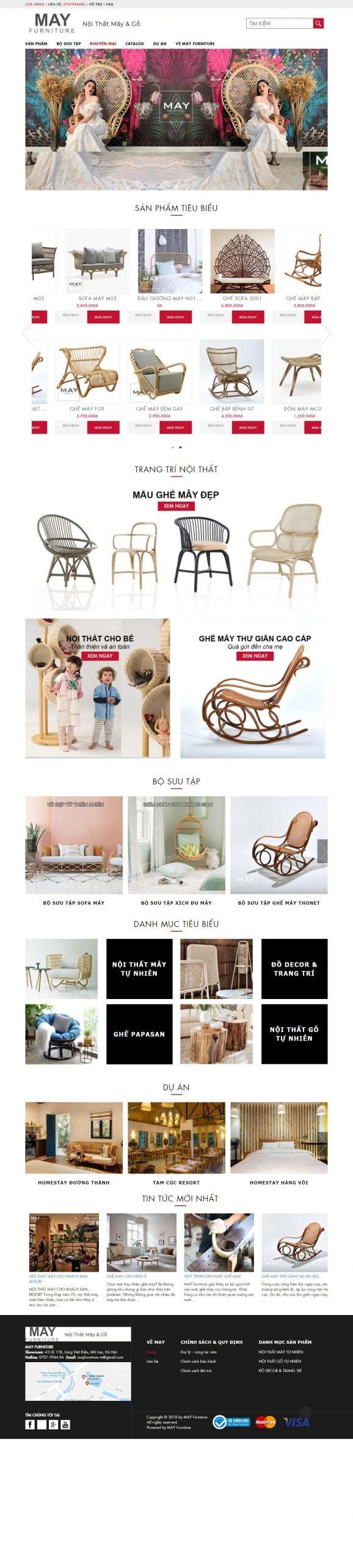 Mẫu thiết kế website bán hàng – mayfurniture.vn MAY Furniture – Nội thất mây và gỗ