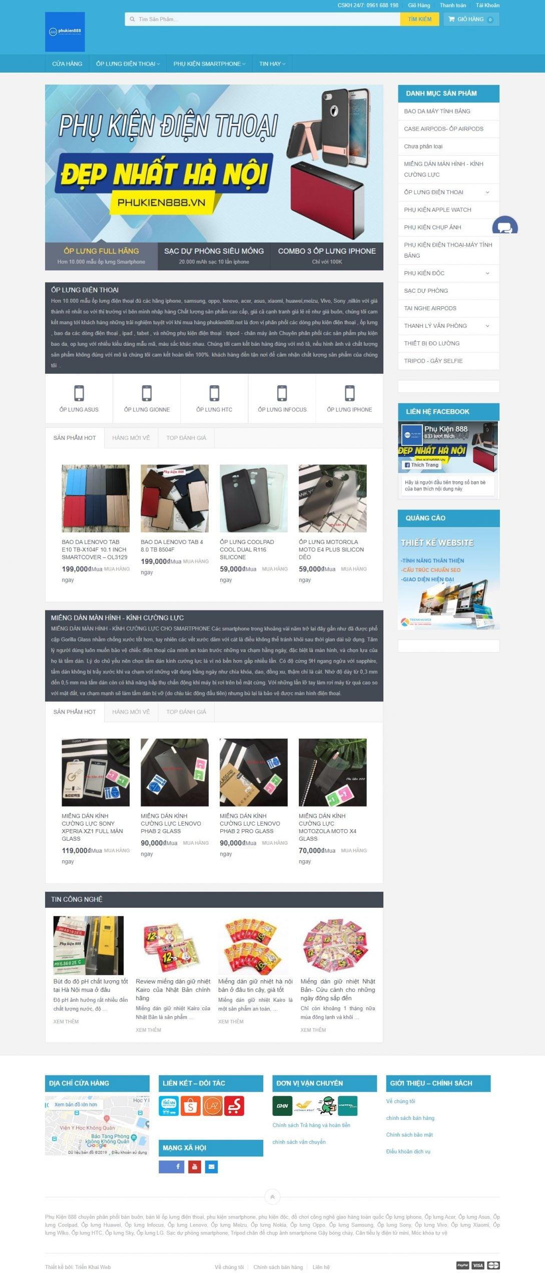 Mẫu thiết kế website bán hàng Phụ kiện 888 – ốp lưng, phụ kiện điện thoại, thiết bị công nghệ -phukien888.vn