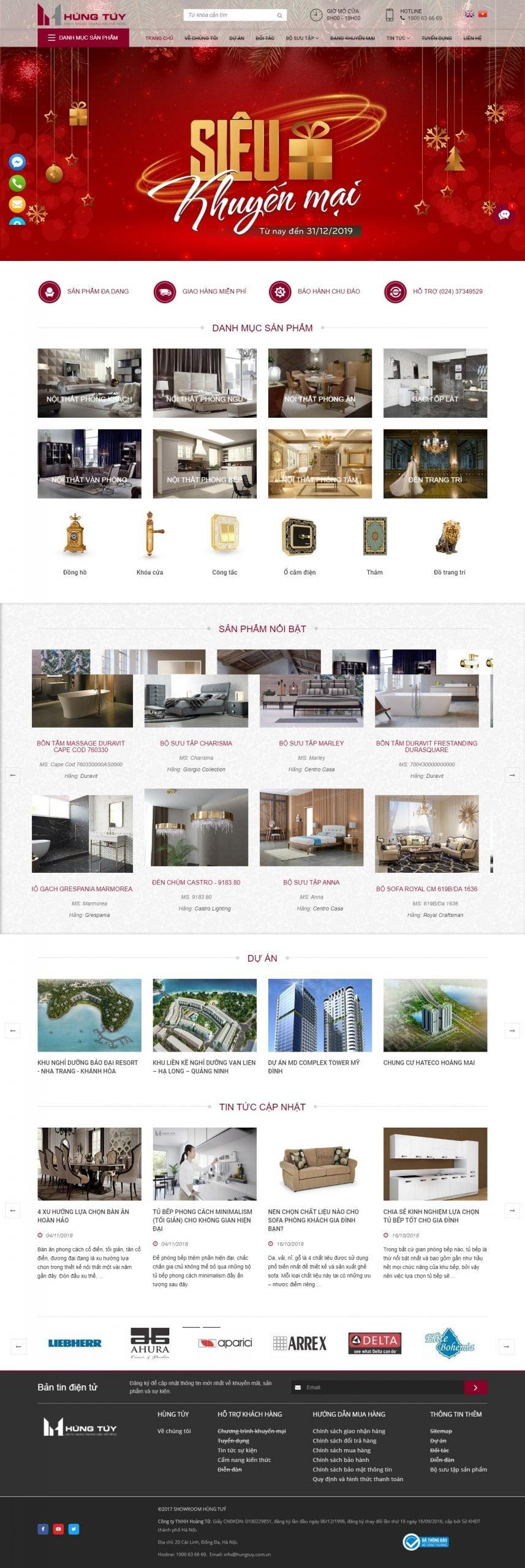 Mẫu thiết kế website bán hàng – hungtuy.com.vn Showroom Hùng Túy chuyên đồ nội thất cao cấp nhập khẩu tại châu âu
