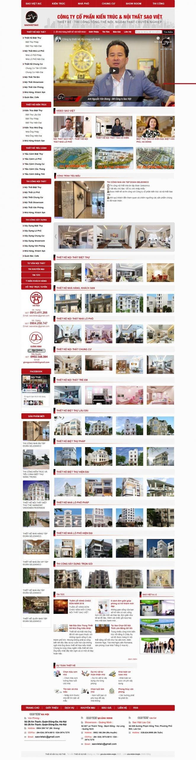 Mẫu thiết kế website bán hàng – saovietaic.vn Thiết kế nội thất và kiến trúc nội thất SaoViet A.I.C