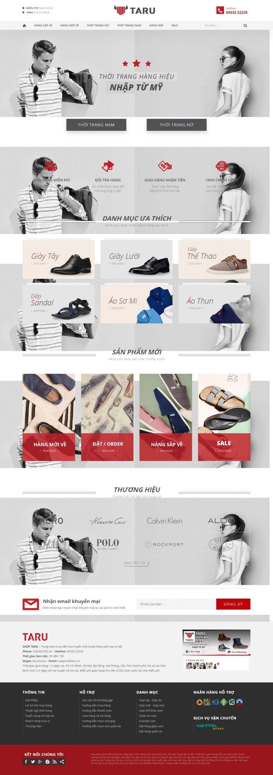 Mẫu thiết kế website bán hàng – taru.vn Thời trang giày dép hàng hiệu đồ cao cấp hàng xách tay từ Mỹ