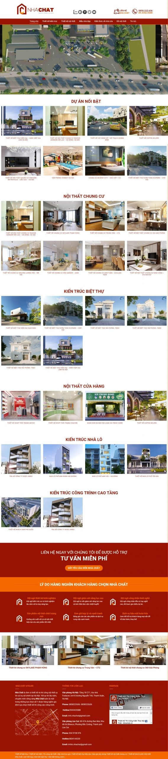 Mẫu thiết kế website bán hàng – nhachat.vn Thiết kế kiến trúc nội thất