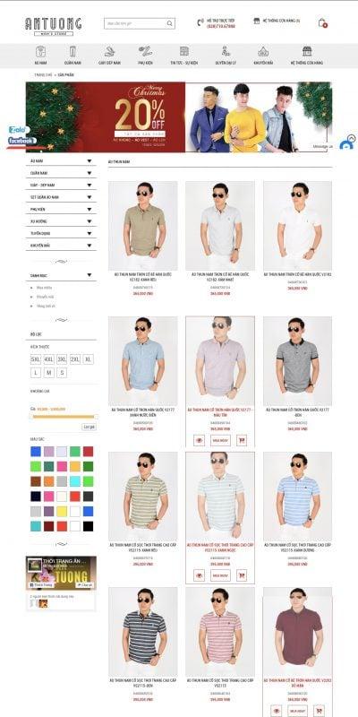 Mẫu thiết kế website bán hàng Áo Thun Nam đẹp, shop bán áo thun nam thời trang Ấn Tượng – antuongshop.vn