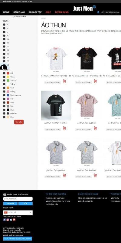 Mẫu thiết kế website bán hàng Áo thun -Just Men – justmen.vn