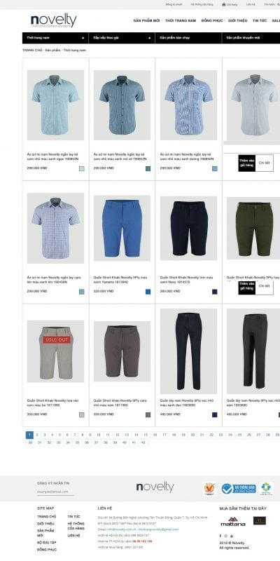 Mẫu thiết kế website bán hàng  Men – www.novelty.com.vn