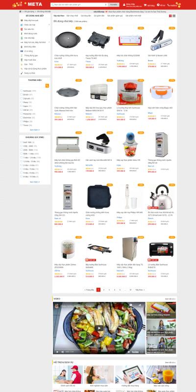 Mẫu thiết kế website bán hàng Đồ dùng nhà bếp – Chất lượng cao – Giá cực tốt – META.vn – meta.vn