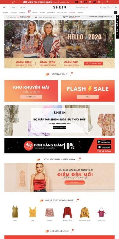 Mẫu thiết kế website Thời trang nữ, thời thượng nữ sale – SHEIN VN – www.shein.com.vn