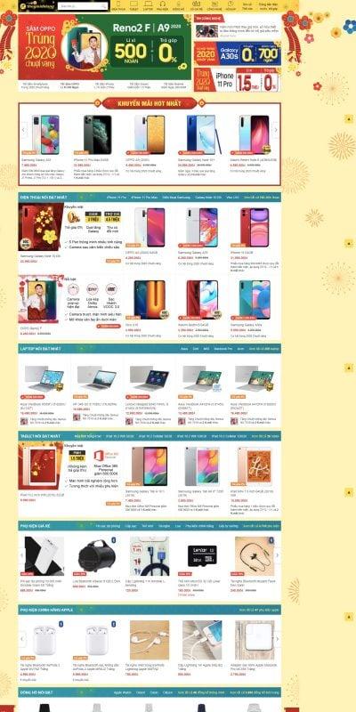 Mẫu thiết kế website Siêu thị điện thoại, Tablet, Laptop, Phụ kiện ch_ – www.thegioididong.com