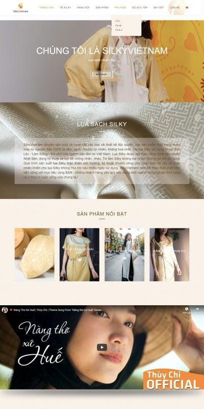 Mẫu thiết kế website Silky – Lụa sạch chuẩn việt – silkyvietnam.com