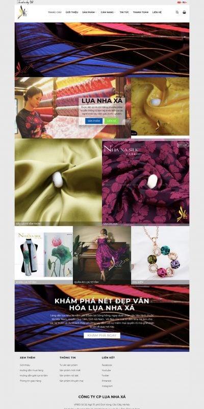 Mẫu thiết kế website Lụa Nha Xá – Lụa Việt cho người Việt – Lụa tơ tằm truyền thống_ – nhaxasilk.com