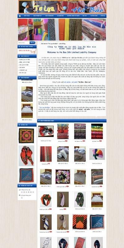 Mẫu thiết kế website TƠ LỤA HÀ BẢO – TƠ LỤA BẢO LỘC – toluahabao.com