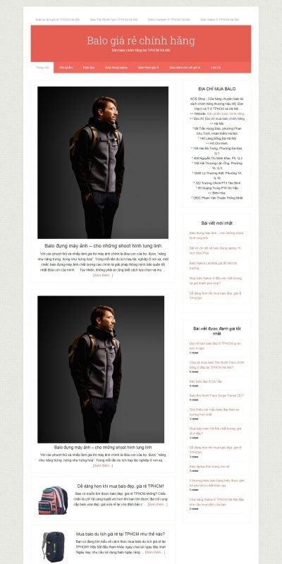 Mẫu thiết kế website Mua bán balo giá rẻ chính hãng 2016 – balo.com.vn