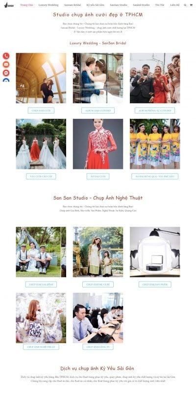 Mẫu thiết kế website Sansan Bridal – Studio chụp ảnh cưới – Xưởng váy cưới HCM – sansan.vn