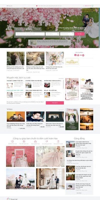 Mẫu thiết kế website Trang thông tin dịch vụ cưới và cộng đồng cưới hỏi – Marry – www.marry.vn