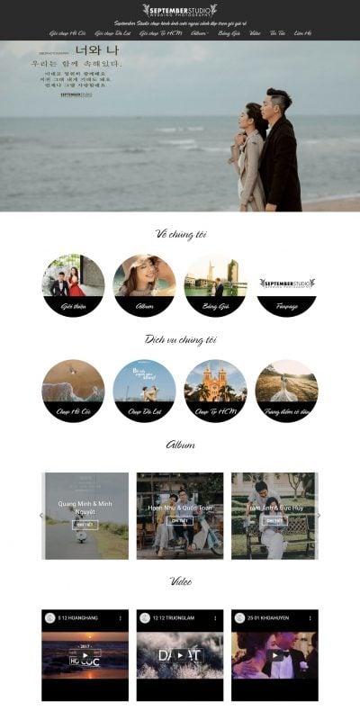 Mẫu thiết kế website tin tức – Chụp hình ảnh cưới ngoại cảnh đẹp trọn gói giá rẻ – September Studio_ – septemberstudios.vn
