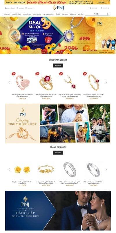 Mẫu thiết kế website bán hàng pnj.com.vn Trang Sức Cao Cấp PNJ – Cty Cổ Phần Vàng Bạc Đá Quý Phú Nhuận
