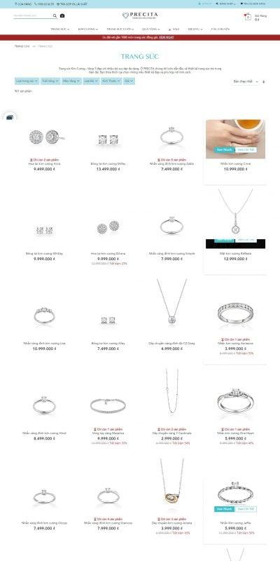 Mẫu thiết kế website bán hàng precita.vn Trang Sức – Kim Cương – Vàng Ý – Thiết kế đẹp, trẻ trung và hiện đại