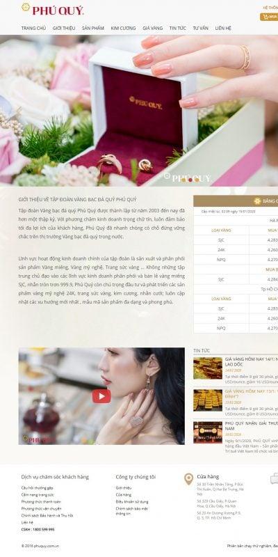 Mẫu thiết kế website bán hàng phuquy.com.vn Tập đoàn Phú Quý – Sản xuất và phân phối sản phẩm từ vàng, bạc