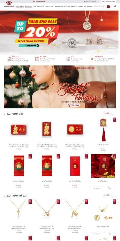 Mẫu thiết kế website bán hàng huythanhjewelry.vn Huy Thanh Jewelry – Trang Sức Vàng, Nhẫn Cưới, Quà Tặng