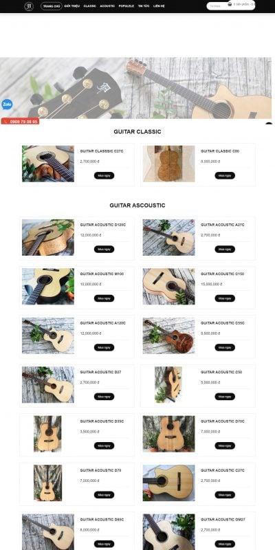 Mẫu thiết kế website bán hàng GUITAR LÊ THIÊN ÂN – anguitar.com