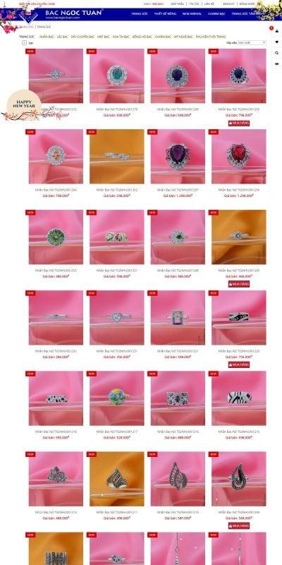 Mẫu thiết kế website bán hàng bacngoctuan.com Trang Sức thương hiệu Bạc Ngọc Tuấn – Since 2002