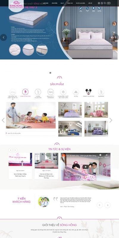 Mẫu thiết kế website bán hàng changagoisonghong.vn Chăn ga gối đệm cao cấp Sông Hồng, hàng đẹp chính hãng giá tốt