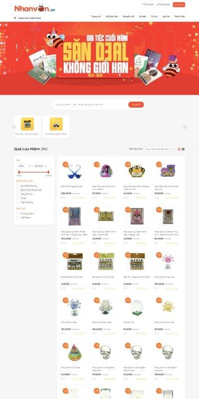 Mẫu thiết kế website bán hàng Quà Lưu Niệm Đẹp, mới nhất, giá tốt – nhanvan.vn – nhanvan.vn
