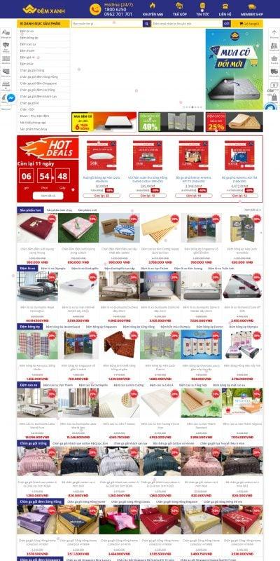 Mẫu thiết kế website bán hàng demxanh.com Đệm Xanh-Chuỗi Cửa Hàng Bán Chăn Ga Gối Đệm hàng đầu