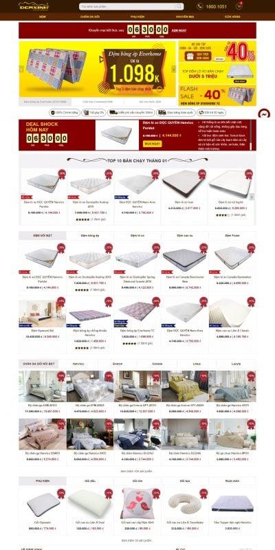 Mẫu thiết kế website bán hàng demxinh.vn Đệm Xinh – Hệ Thống Bán Lẻ Nệm & Chăn Ga Gối Chính Hãng