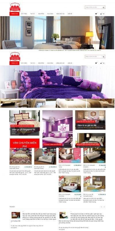 Mẫu thiết kế website bán hàng – demhan.com Chăn Ga Gối Đệm Hàn Quốc Giá rẻ Tại Hà Nội Khuyến Mại