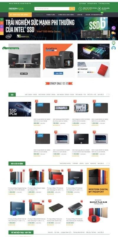 Mẫu thiết kế website bán hàng Memoryzone – Professional in memory – Nhà bán lẻ thiết bị lưu trữ. Ổ_ – www.memoryzone.com.vn